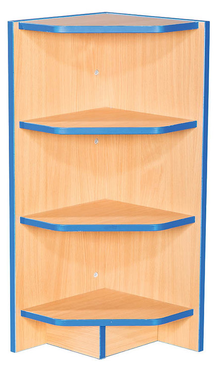 Flat Top External Corner Bookcase with Fixed Shelves