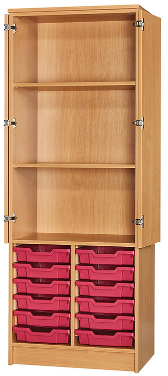 1838mm High 12 Tray Half Cupboard - Half Door Cupboard - Beech