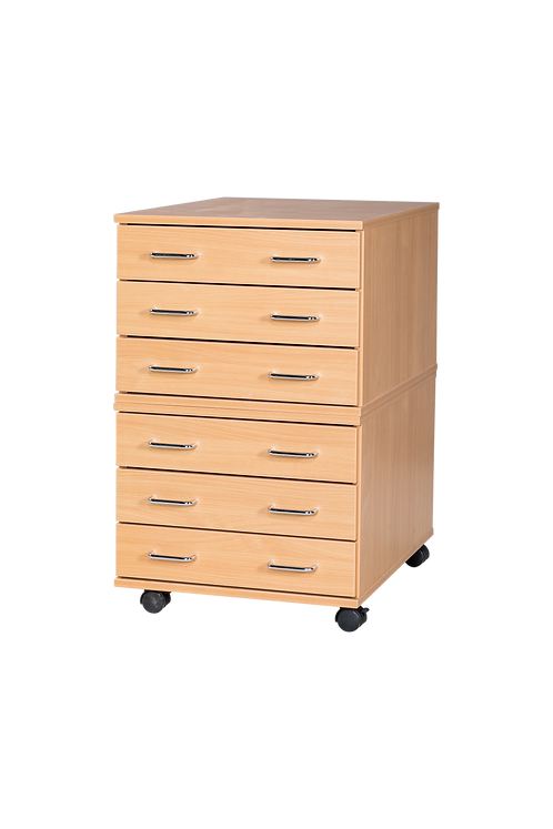 6 Drawer A2 Mobile Planchest - White Wood/White Edge