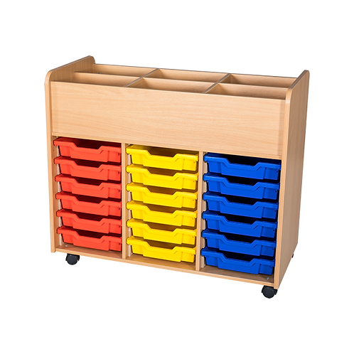 18 Tray Tall Mobile Book Trolley