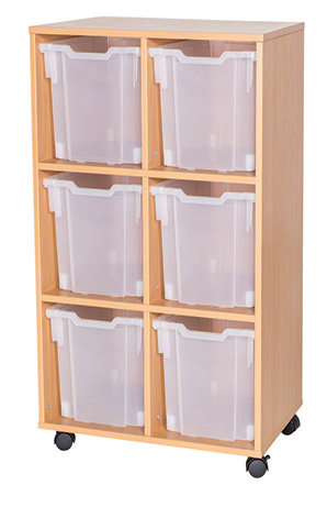 12 High Double Jumbo Tray Storage - Grey Wood/Grey Edge