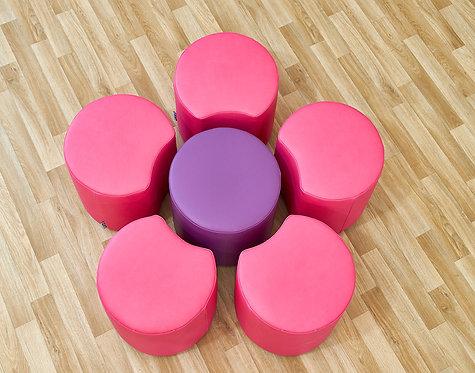 Flower Set - Five Petals & One Dot Seat