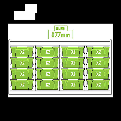 KubbyClass Triple Column Combination Tray Unit (16x X2 Trays)
