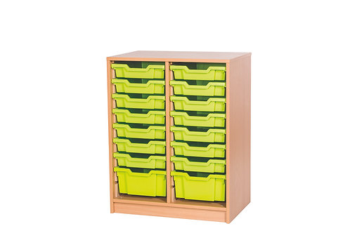 8 High Double Tray Unit - Static - Beech