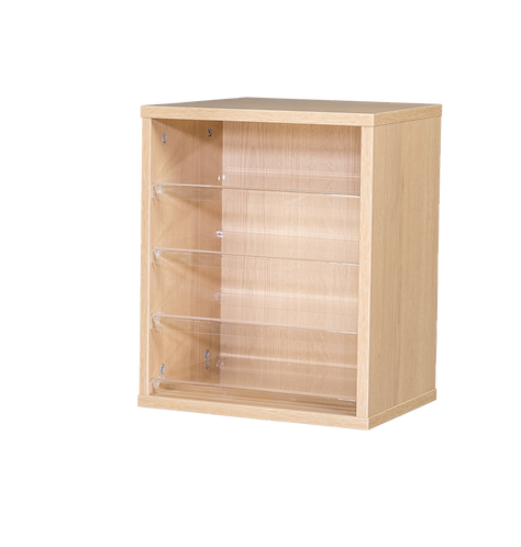 4 Space Pigeonhole - Wall Mounted - Oak Wood/Oak Edge