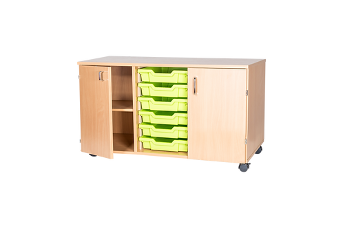 6 High 6 Tray Triple with Cupboards - Mobile
