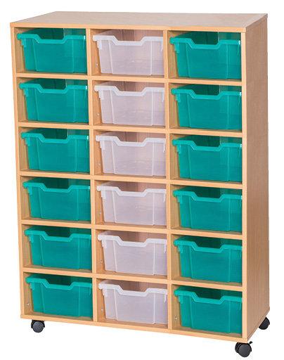 13 High Triple Tray Storage Unit - Mobile - Beech