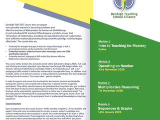 Teacher Subject Specialism Training in Mathematics with Denbigh TSA - APPLY NOW