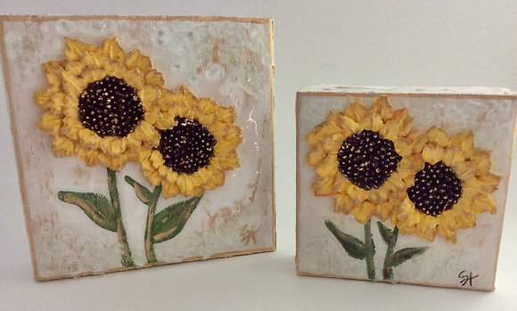 Textured Sunflowers on Wood or Canvas