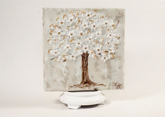 Textured White Flower Tree on Wood or Canvas