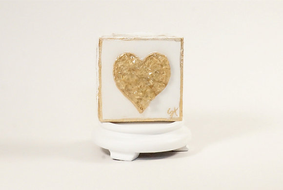 Textured Gold Heart with Glass on Wood or Canvas