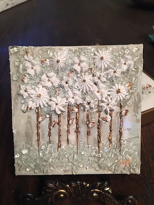 Textured White Flowers on Wood or Canvas