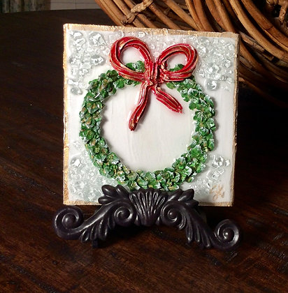 Textured Christmas Wreath On Wood or Canvas