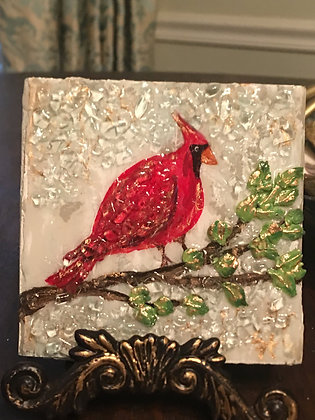 Red Bird Textured Painting on Wood or Canvas