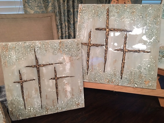 Neutral Tri-Cross on Larger Canvas