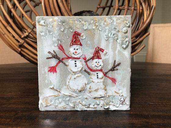 Textured Snowman(men) on Wood or Canvas