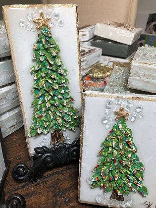 Textured Christmas Tree on Wood