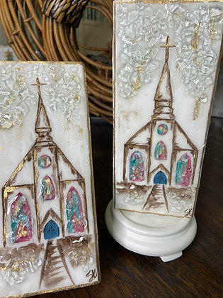 "Church on Wood 8"" Tall"