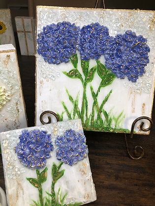 Textured Hydrangeas on Wood
