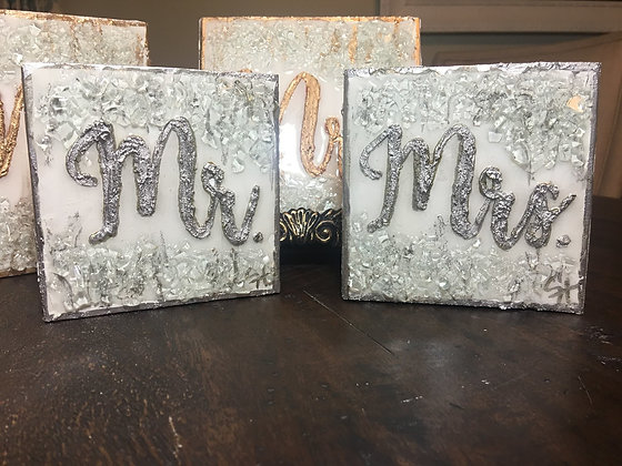 Silver Mr. or Mrs. Textured Paint on Wood SMALL