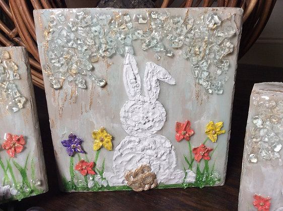 Bunny Rabbit Textured Painting on Wood or Canvas