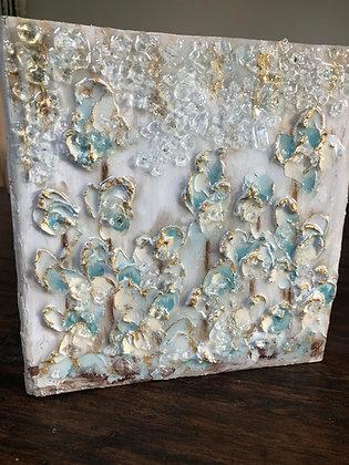 "10"" x 10"" Textured Aqua Flowers on Wood or Canvas"