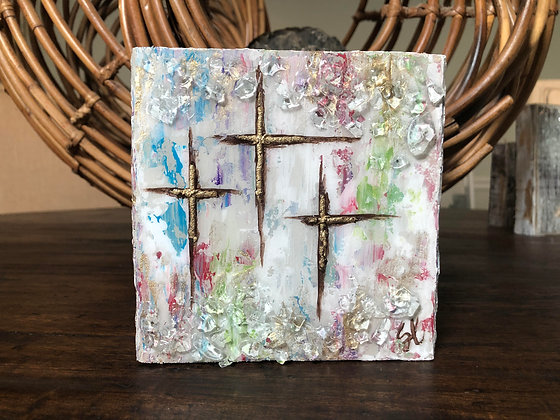 Colored Tri-Cross on Wood or Canvas