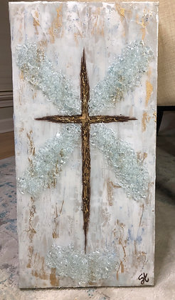 Single Abstract Gold Cross on Canvas