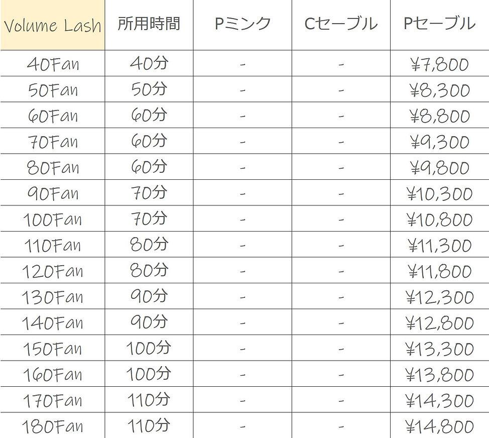 ボリュームラッシュ料金表.JPG
