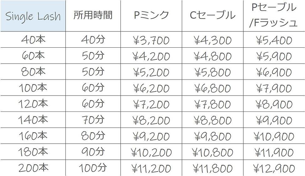 シングルラッシュ料金表.JPG