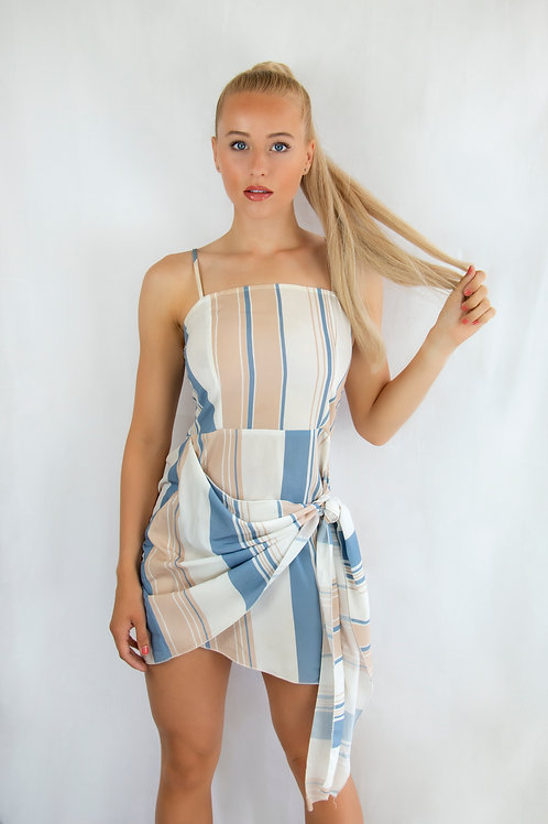 Side Tie Striped Dress