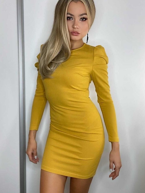 Mustard Parisian Puff Sleeve Dress