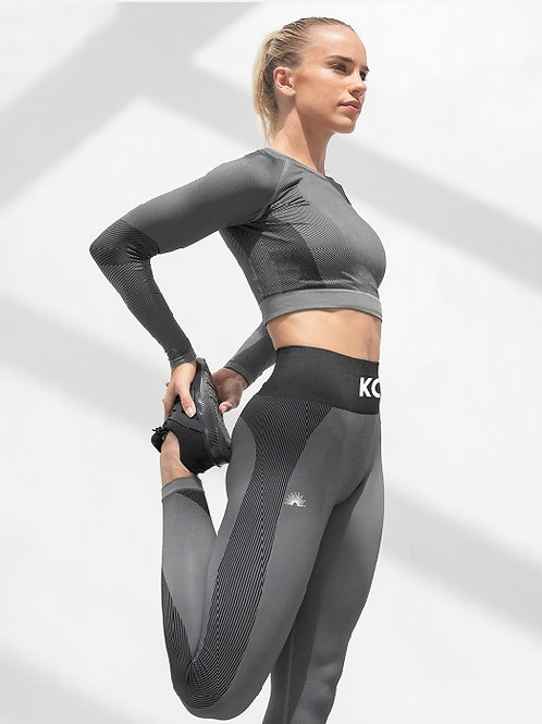 Grey Seamless Panelled Leggings