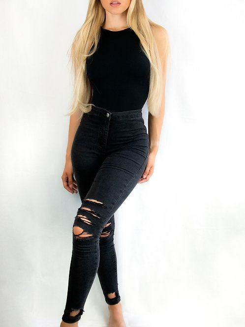 High-Waisted Distressed Jeggings
