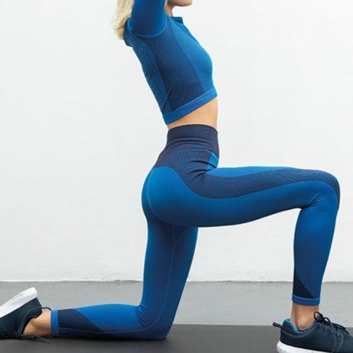 Bright Blue Seamless Panelled Leggings