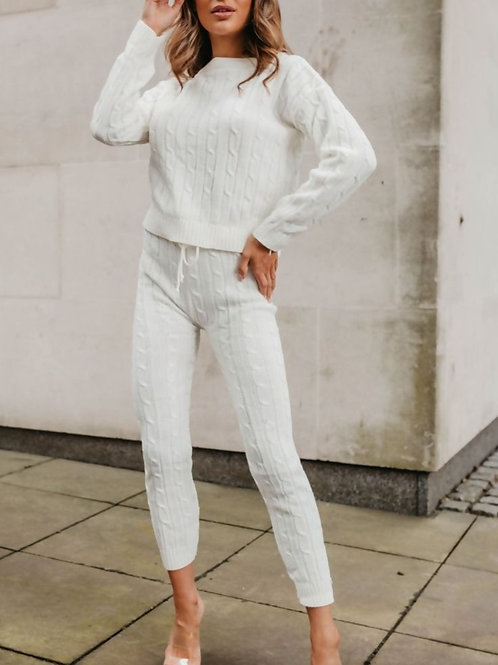 Cable Knit Cropped Top And Legging Lounge Set