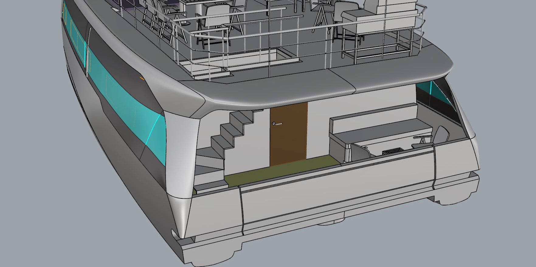 2 cabin electric houseboat with half terrace