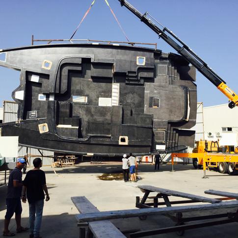 Deck for a 64 foot catamaran
