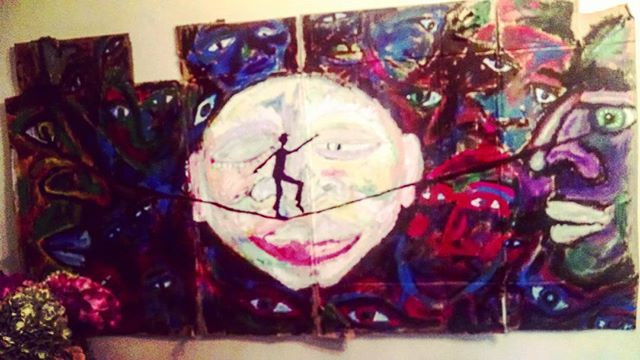 Wirewalker #moon #balance #painting