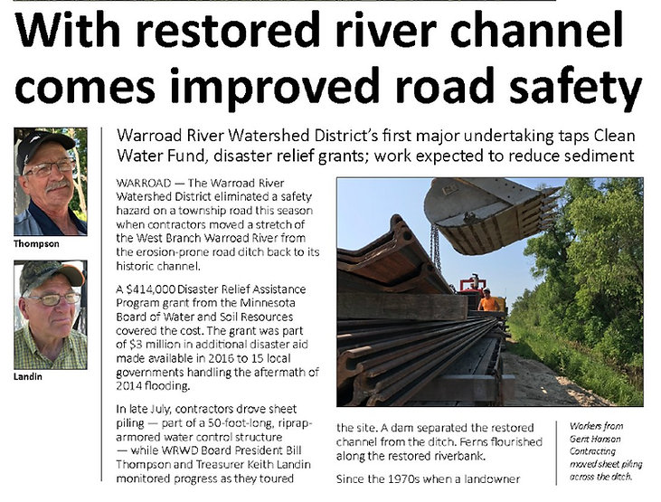 Warroad River West Branch restoration project in Cedarbend Township