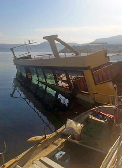 Shipwreck after landing in Lesbos