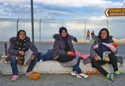 Exhausted women after landing