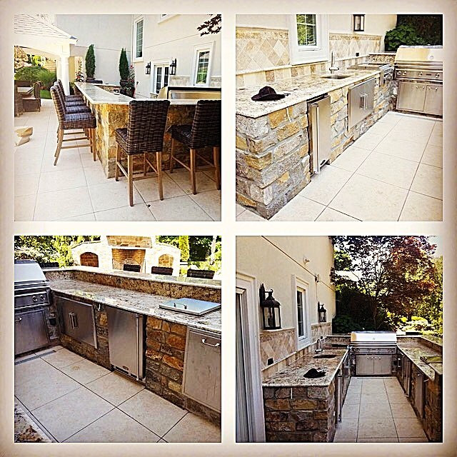 Outdoor kitchen, stone, granite, stainless steel appliances