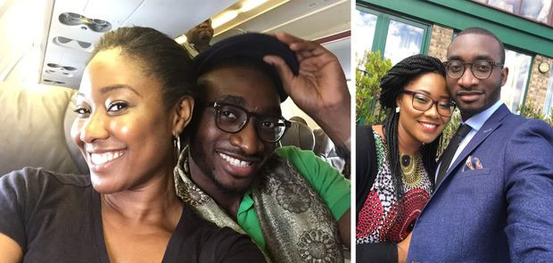 Tolulope Olajide, Michael Olajide, and Chidinma Olajide (Onuzo) on a aeroplane and at a wedding happy and sad before Tolu became a widower, widowed and young, widowed parent