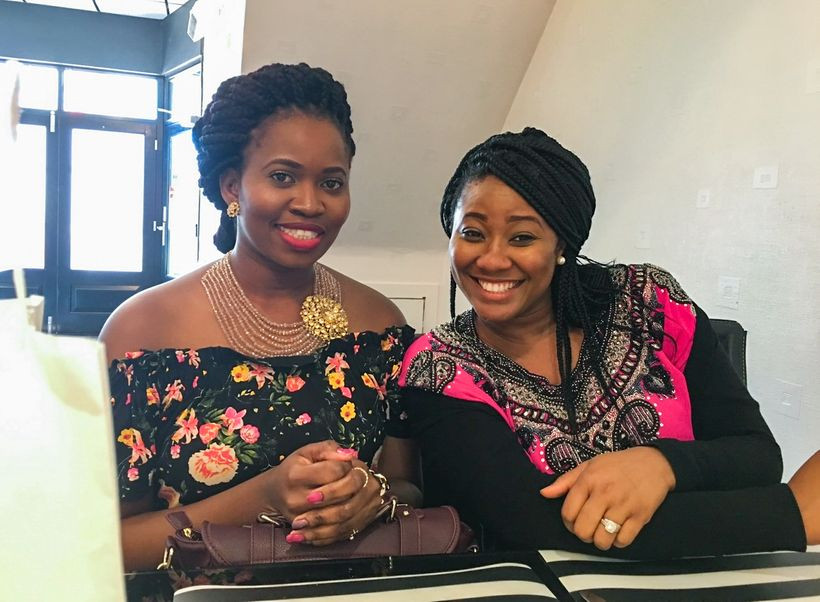 Chidinma Olajide and Sarah Iyang posing, and smiling | Grieving the Death of a friend | Balanced Wheel