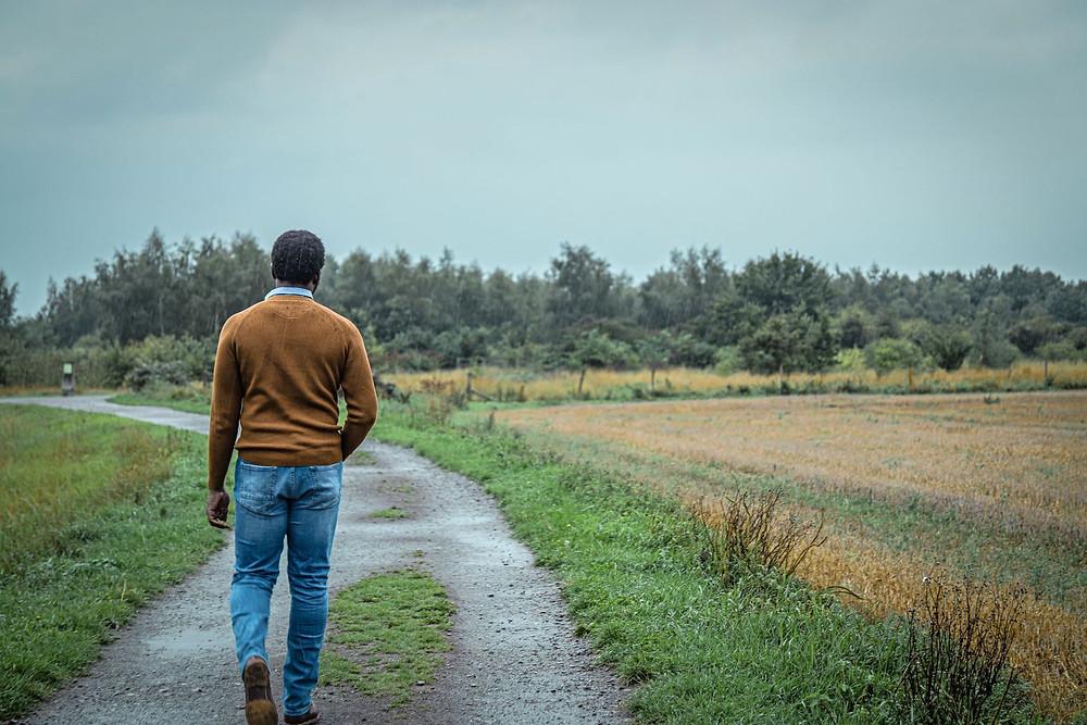 Tolu taking a walk in the rain