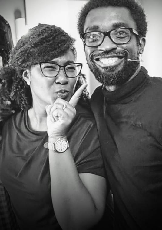 Chidinma Olajide and and Uche Iloka posing as they prepared to act in a theatre production   Dealing with Grief - Frozen Moments and Memories of Loved One   Balanced Wheel