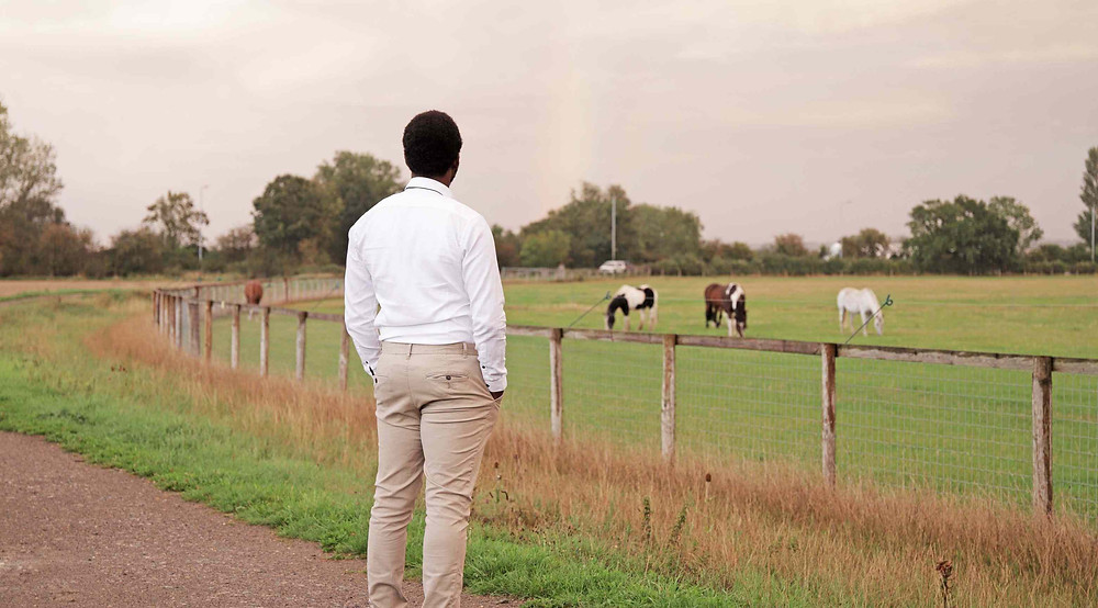 Tolulope Olajide staring in the field, there are four horses grazing in the field | Balanced Wheel | BW
