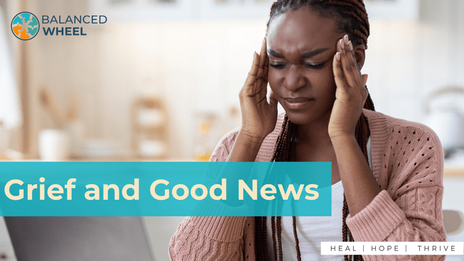 Migraine Concept. Stressed African American Woman Suffering From Headache While Working On Laptop At Home, Upset Lady Sitting At Desk With Computer In Kitchen And Touching Temples, Free Space | Grief and good news | Balanced Wheel