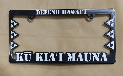 Defend Hawaii License Plate Frame Kū Kia'i Mauna Black
